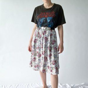 vintage pink and white floral flared skirt